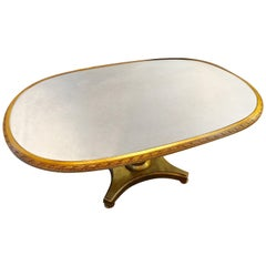 Hollywood Regency Style Distressed Silver & Gold Leaf Mirrored Top Dining Table