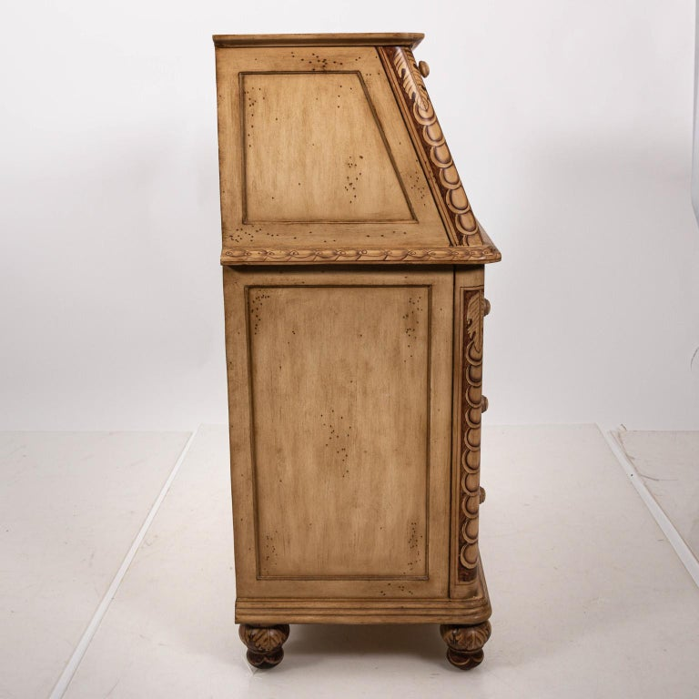 Painted Hollywood Regency Style Drop Front Desk For Sale