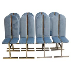 Hollywood Regency Style Eight Vintage Brass Blue Velvet Dining Chairs Italy 1970