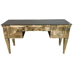 Hollywood Regency Style Etched Glass Vanity or Writing Desk with Glass Pulls