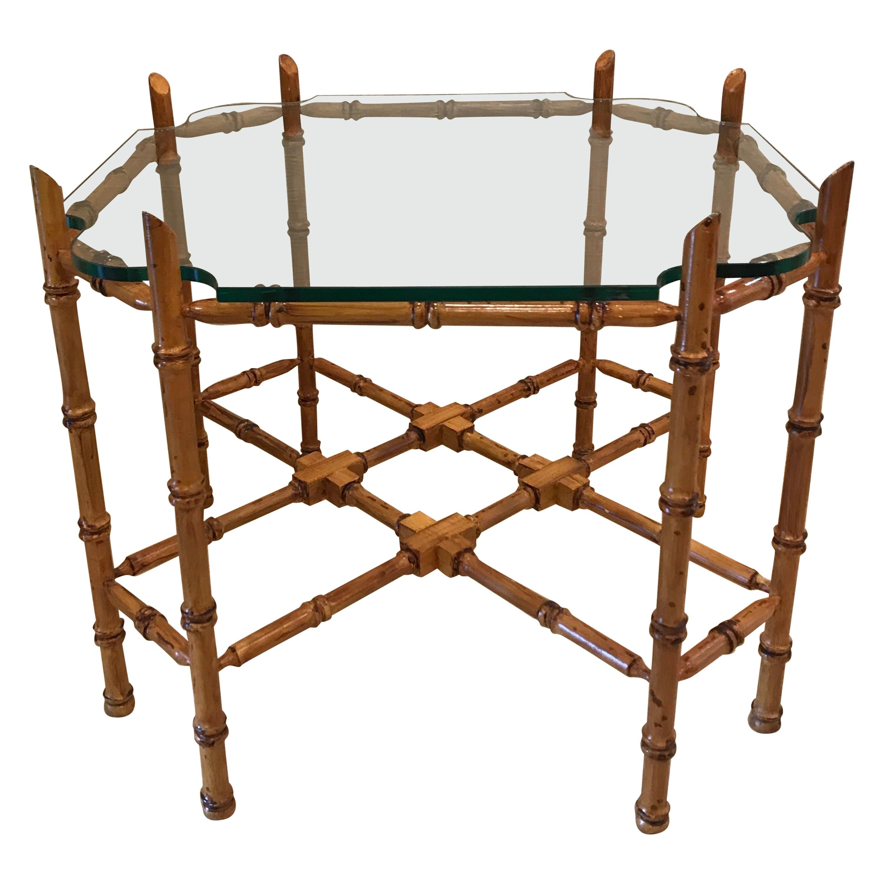 Hollywood Regency Style Faux Bamboo Cocktail Table