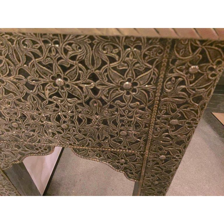 Hollywood Regency Style Filigree Console In Good Condition For Sale In Stamford, CT