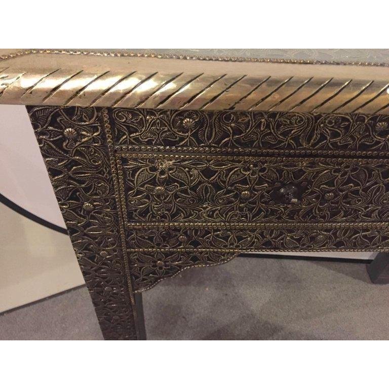 Late 20th Century Hollywood Regency Style Filigree Console For Sale