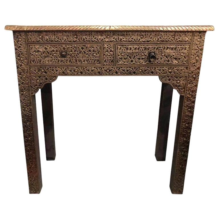 Hollywood Regency Style Filigree Console For Sale