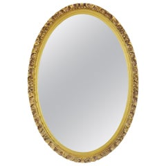 Hollywood Regency Style Floral Oval Gold Framed Wall Mirror