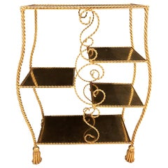 Hollywood Regency Style Gilt Brass Étagère by Jansen