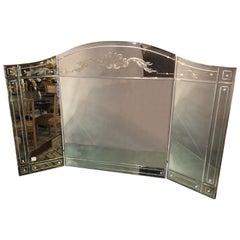 Hollywood Regency Style Gilt Etched Glass Tri-Fold Large Vanity or Desk Mirror