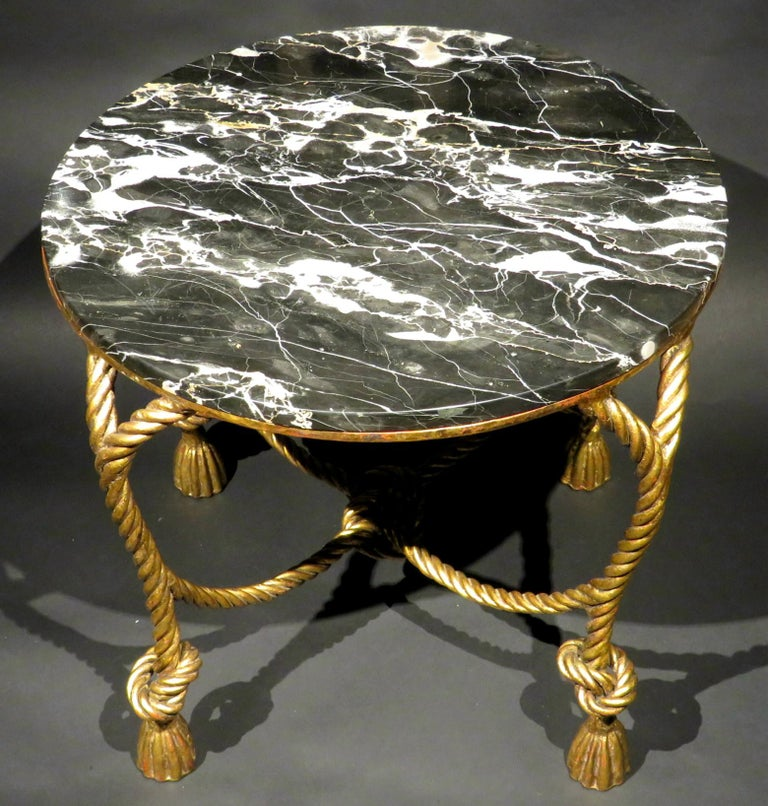 Black Marble Coffee Table Canada: Hollywood Regency Style Gilt Metal And Marble Top Coffee