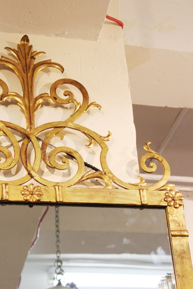Hollywood Regency Style Gilt Metal Mirror In Good Condition For Sale In New York, NY