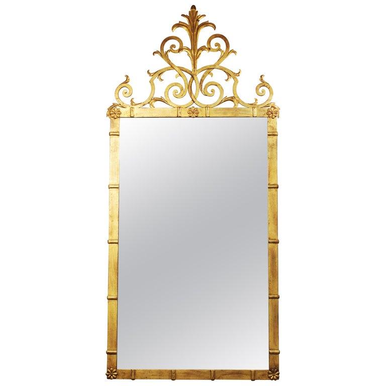 Hollywood Regency Style Gilt Metal Mirror For Sale