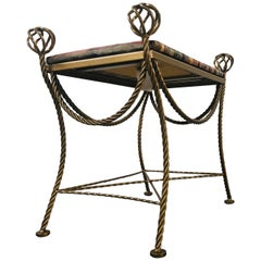 Hollywood Regency Style Gilt Metal Rope and Ball Stool