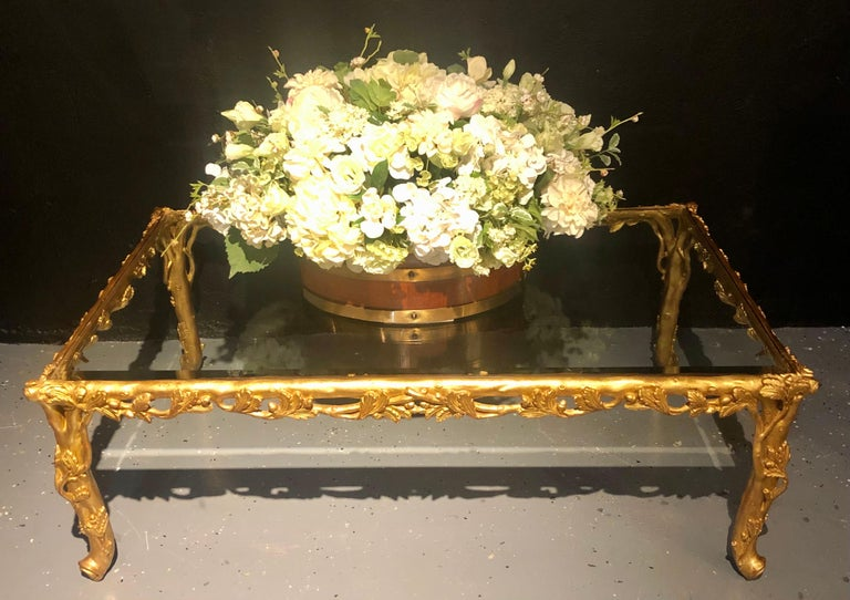 Hollywood Regency Style Giltwood Coffee Table, Beveled Glass Top For Sale 6