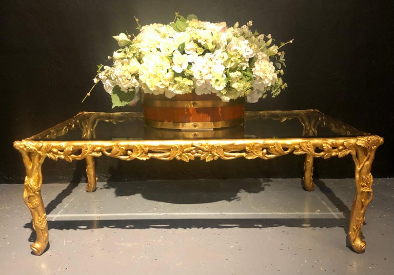 Hollywood Regency Style Giltwood Coffee Table, Beveled Glass Top In Good Condition For Sale In Stamford, CT