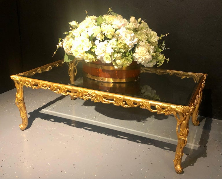 Hollywood Regency Style Giltwood Coffee Table, Beveled Glass Top For Sale 1