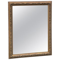 Hollywood Regency Style Gilt Wood Gold Framed Mirror, Large Scale, 1950's