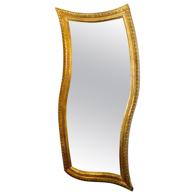 Hollywood Regency Style Giltwood Carved Standing Floor or Wall Mirror For Sale