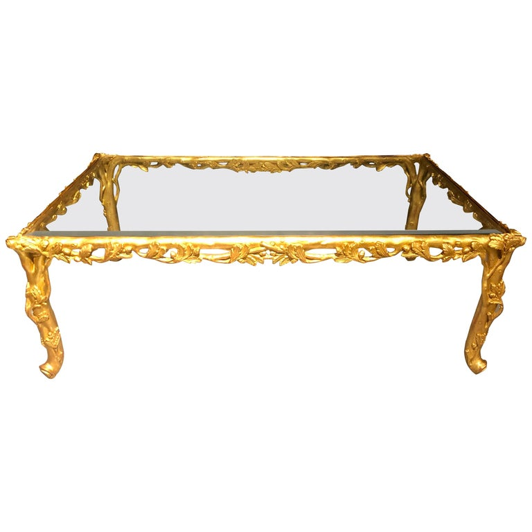 Hollywood Regency Style Giltwood Coffee Table, Beveled Glass Top For Sale