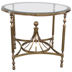 Hollywood Regency Style Glass Top Center Table