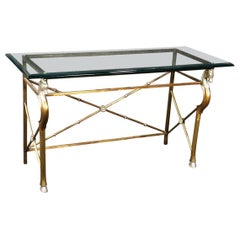 Maison Charles Attributed Horse Head Steel and Glass Top Console Table