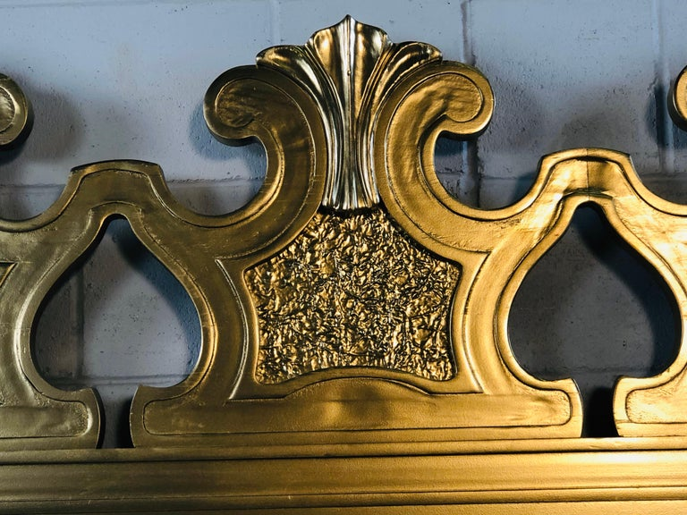 Hollywood Regency Style Gold King Size Headboard For Sale 5