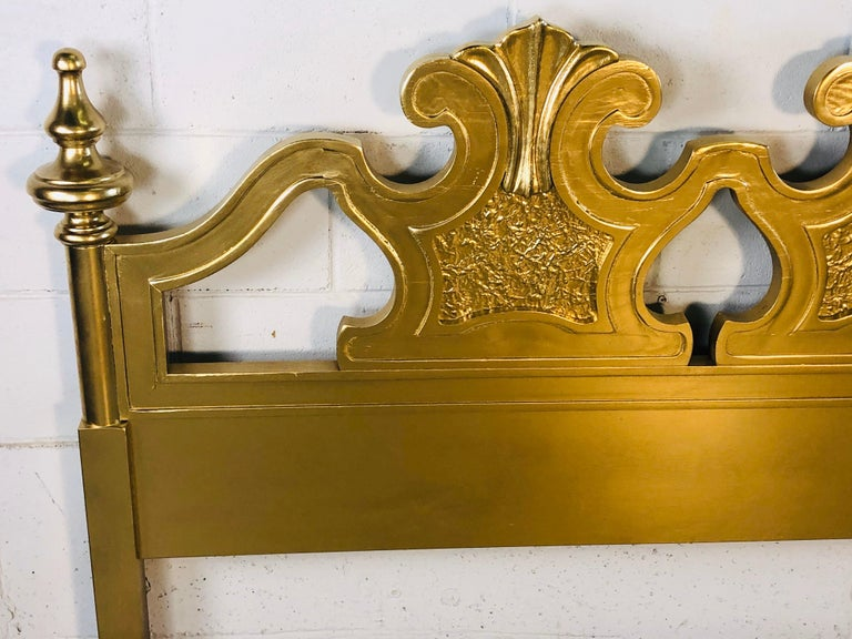 North American Hollywood Regency Style Gold King Size Headboard For Sale