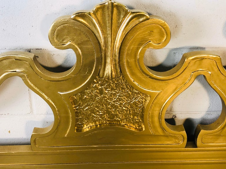Hollywood Regency Style Gold King Size Headboard In Good Condition For Sale In Amherst, NH
