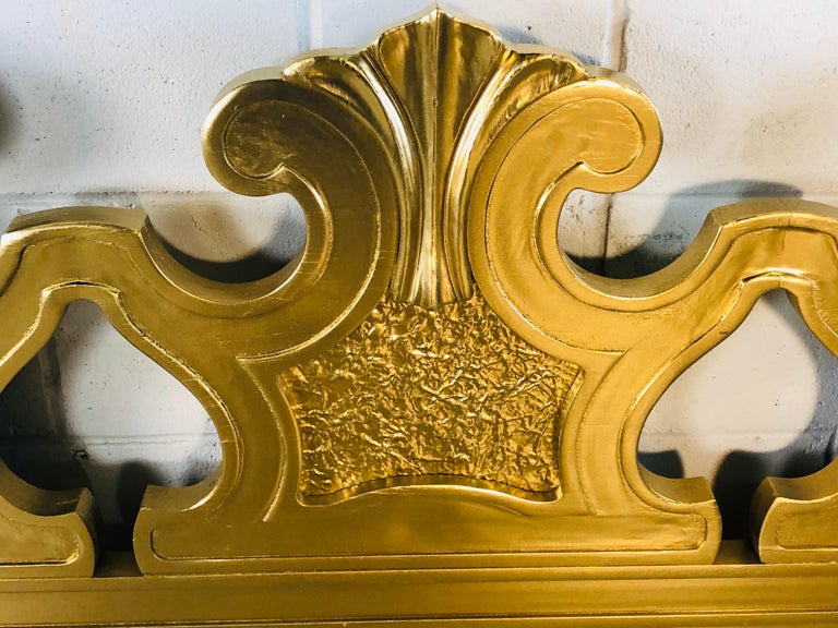 20th Century Hollywood Regency Style Gold King Size Headboard For Sale