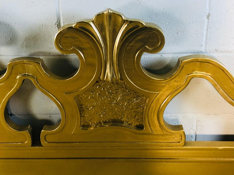 Wood Hollywood Regency Style Gold King Size Headboard For Sale