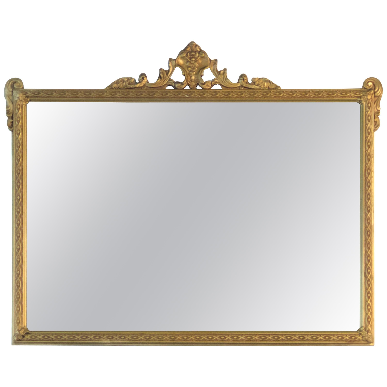 Hollywood Regency Style Gold Wood Framed Wall Mirror
