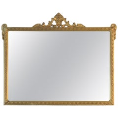 Hollywood Regency Style Gold Wood Framed Wall Mirror