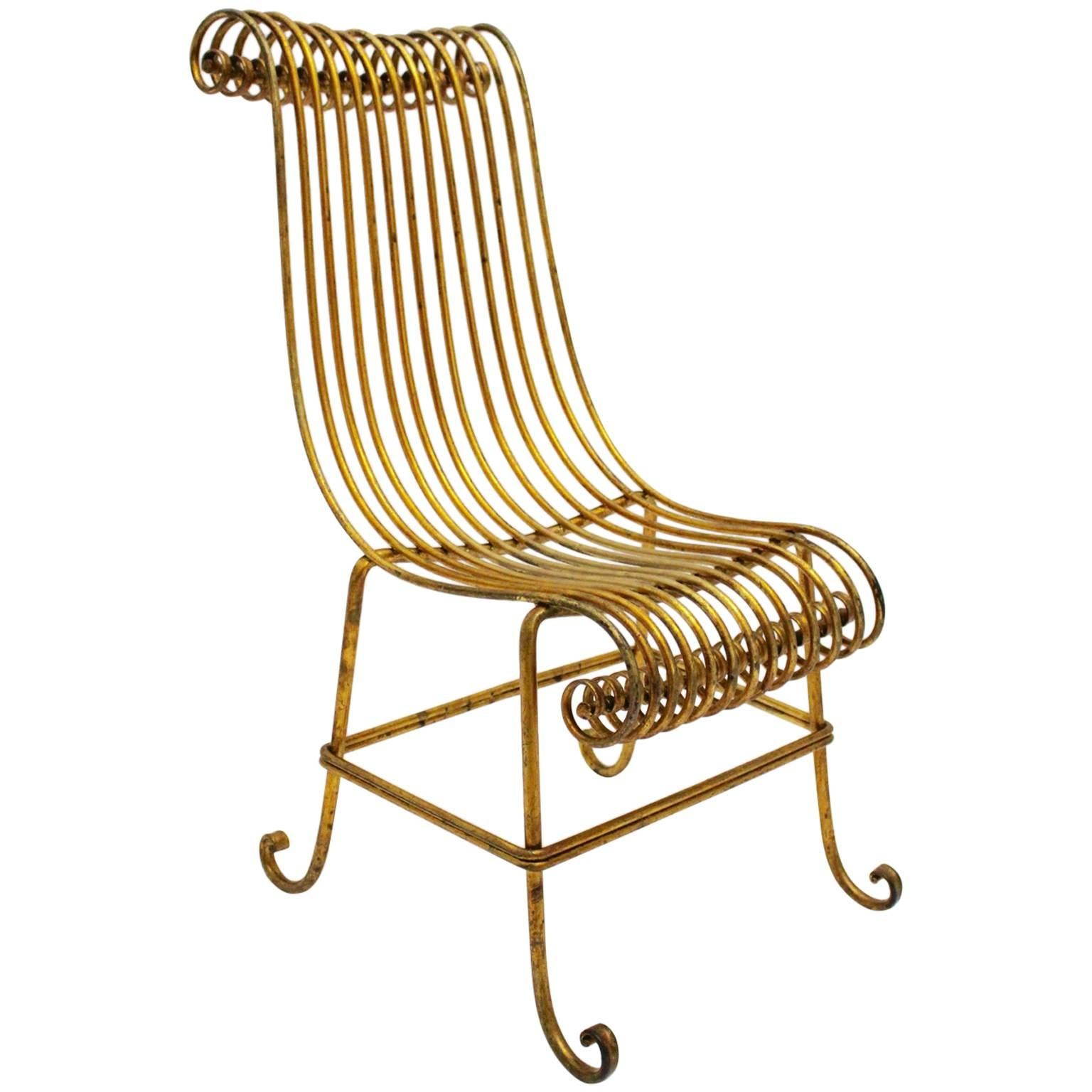 Hollywood Regency Style Golden Metal Sculptural Vintage Side Chair Italy 1940s