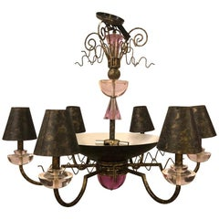 Hollywood Regency Style Iron and Lucite with Colored Glass Chandelier