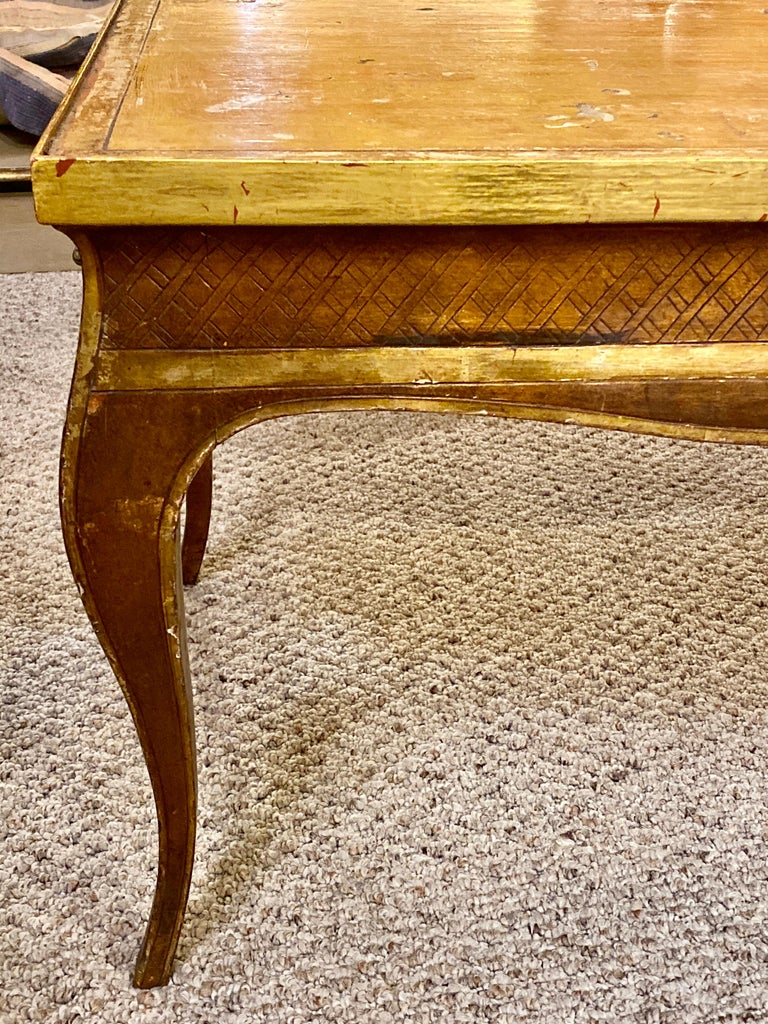 Wood Hollywood Regency Style Jansen Gilt Gold Coffee Table Decorative X Design For Sale