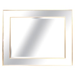 Hollywood Regency Style Labarge Rosetone Framed Brass Wall Mirror