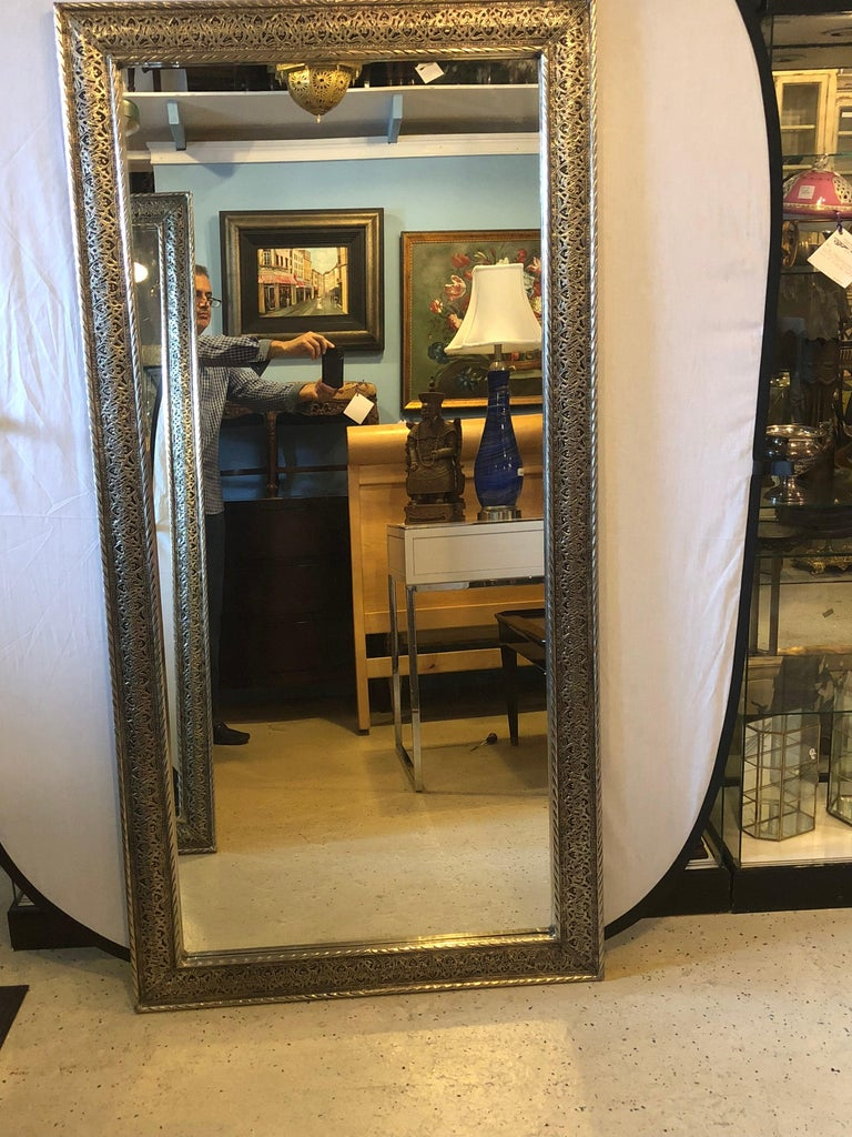 Hollywood Regency Style Large Wall / Floor Pier Silver Metal Mirrors In Good Condition For Sale In Stamford, CT