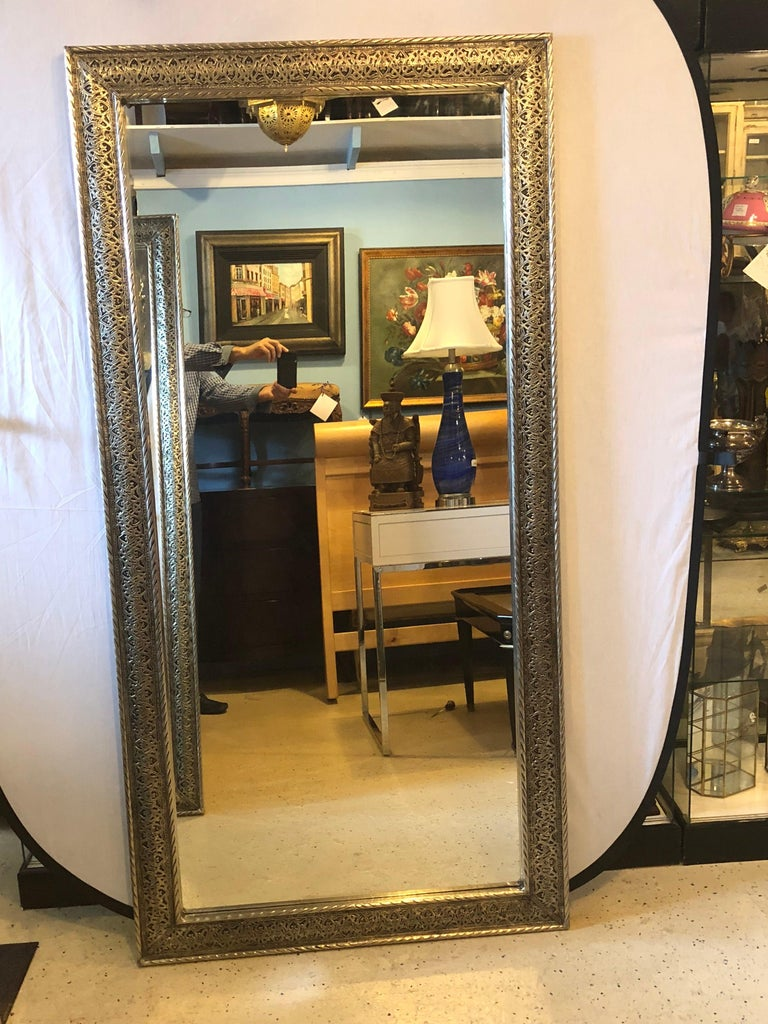 Late 20th Century Hollywood Regency Style Large Wall / Floor Pier Silver Metal Mirrors For Sale