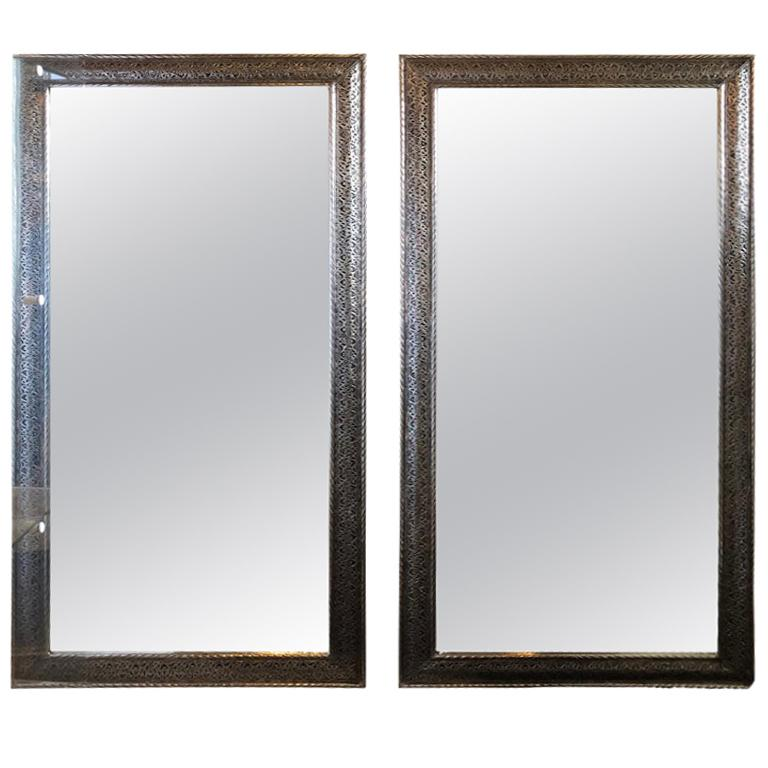 Hollywood Regency Style Large Wall / Floor Pier Silver Metal Mirrors For Sale