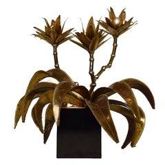Hollywood Regency Style Maison Jansen Brass Flower Lamp