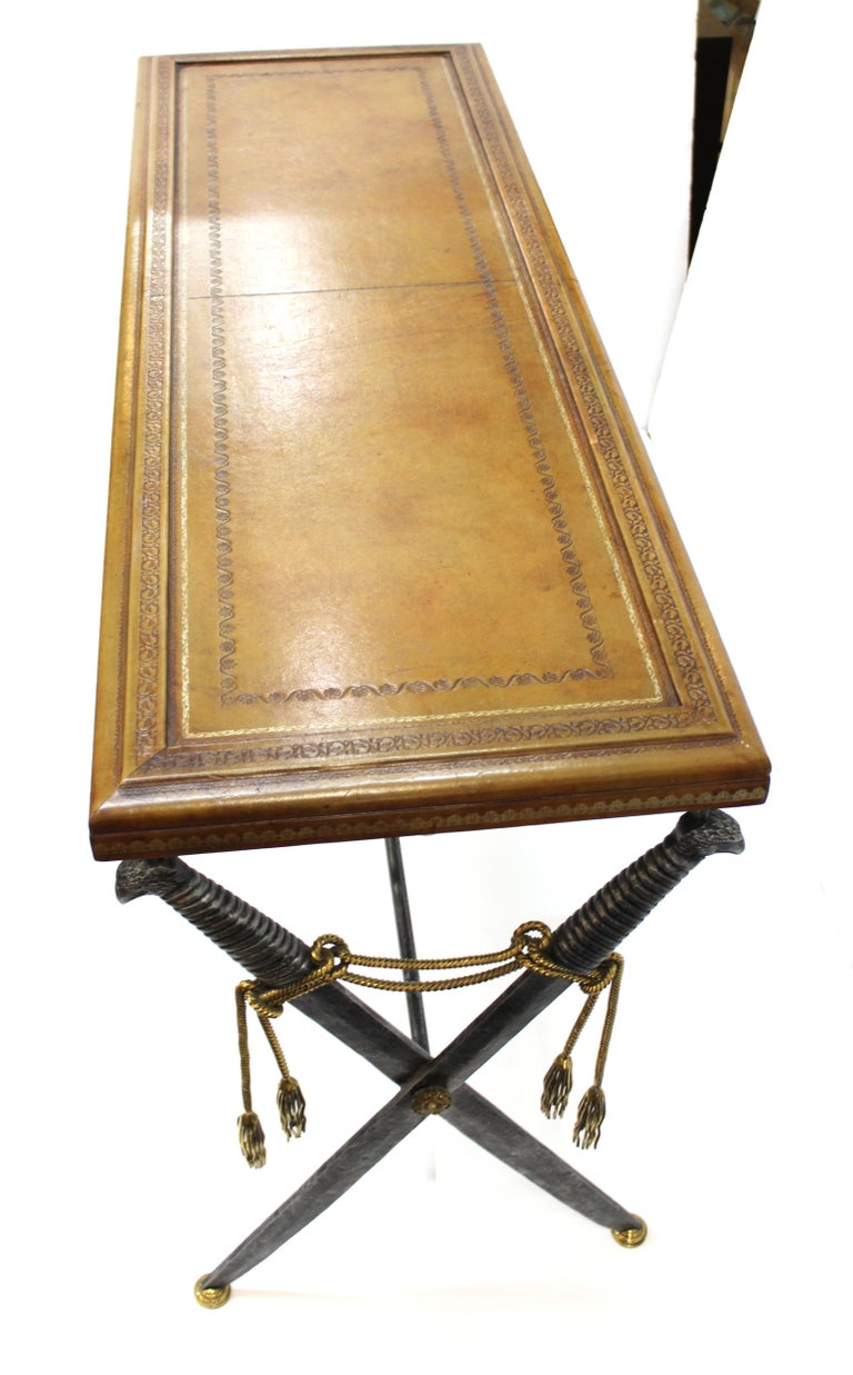 Hollywood Regency Style Maitland Smith Leather Top Console with Crossed Swords 8