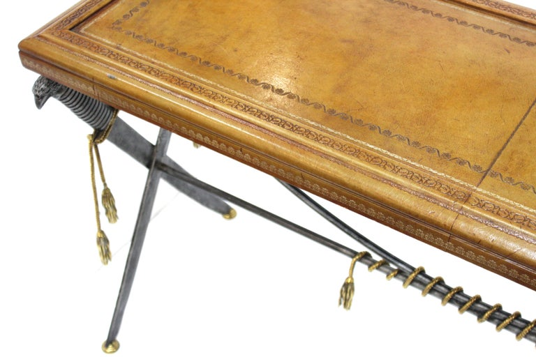 Hollywood Regency Style Maitland Smith Leather Top Console with Crossed Swords 9