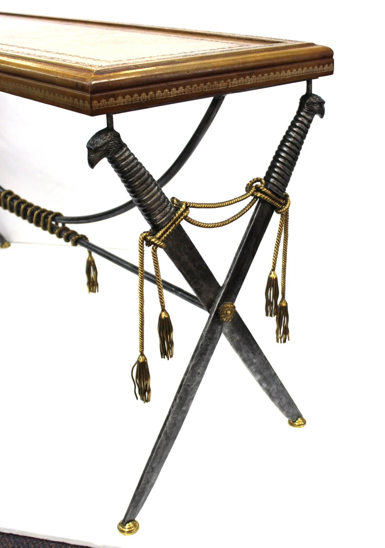 Hollywood Regency Style Maitland Smith Leather Top Console with Crossed Swords 3