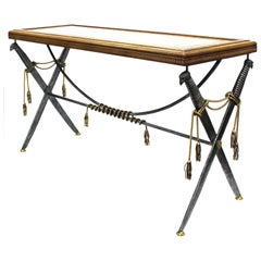 Hollywood Regency Style Maitland Smith Leather Top Console with Crossed Swords