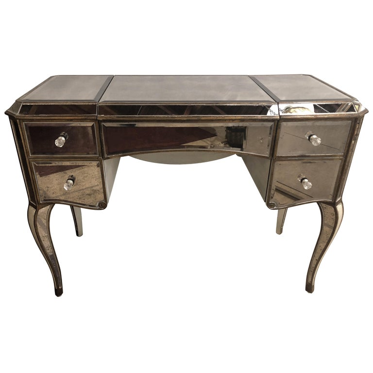 Hollywood Regency Style Mirror Flip Top Vanity Desk Or Dressing Table For