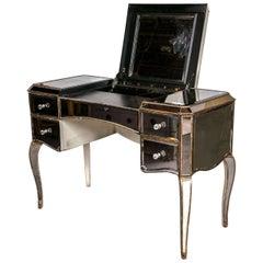 Hollywood Regency Style Mirrored Flip Top Vanity or Desk