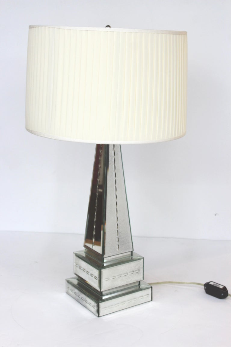 Hollywood Regency Style Mirrored Obelisk Table Lamps with Shades In Good Condition For Sale In New York, NY