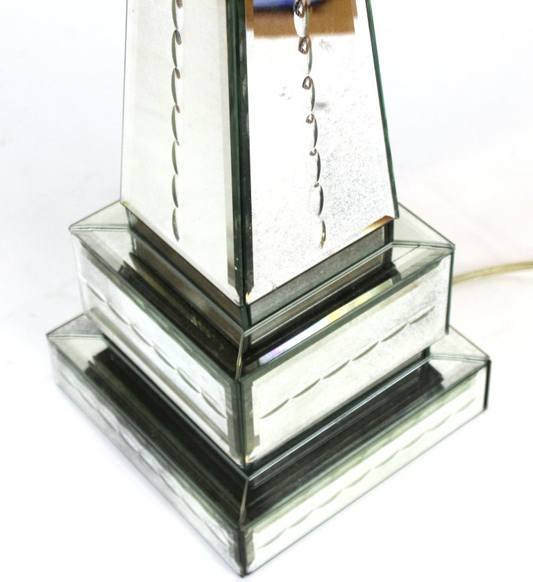 20th Century Hollywood Regency Style Mirrored Obelisk Table Lamps with Shades For Sale