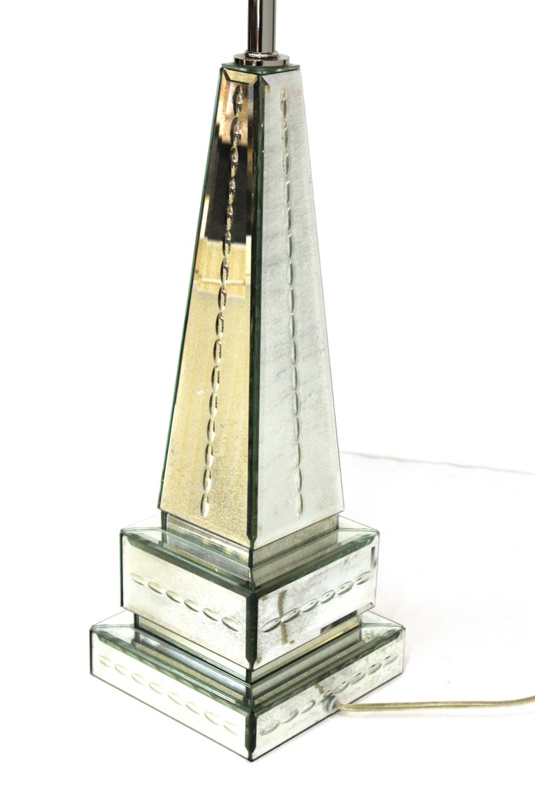 Hollywood Regency Style Mirrored Obelisk Table Lamps with Shades For Sale 3
