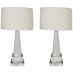Hollywood Regency Style Mirrored Obelisk Table Lamps with Shades