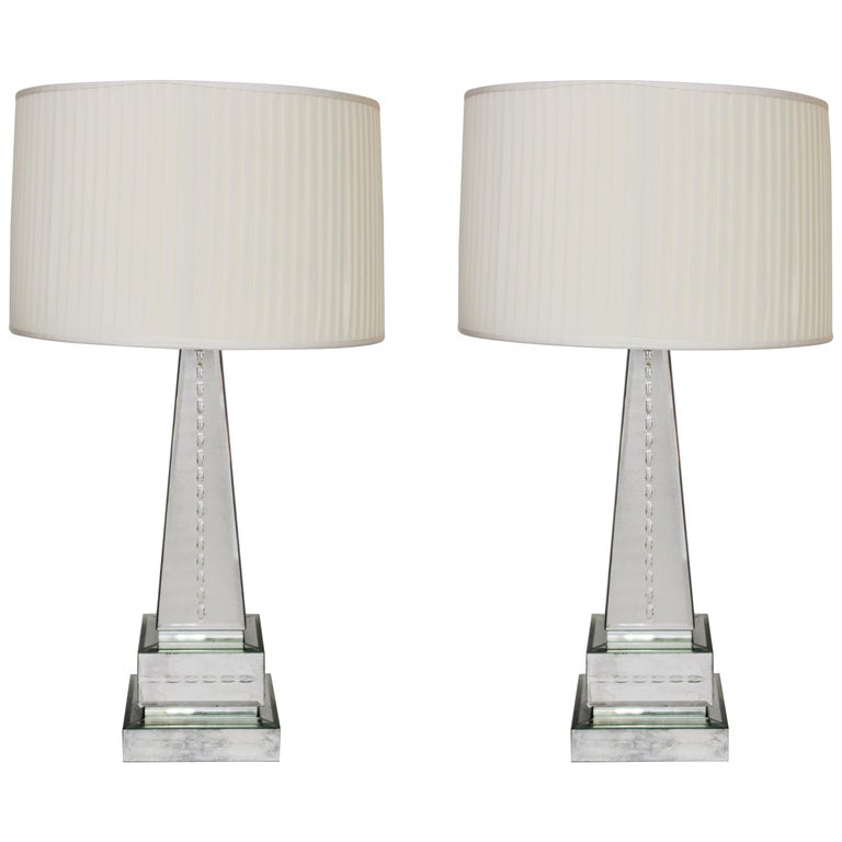 Hollywood Regency Style Mirrored Obelisk Table Lamps with Shades For Sale