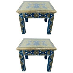 Hollywood Regency Style Moroccan Brass Blue Rectangular Side or End Table, Pair